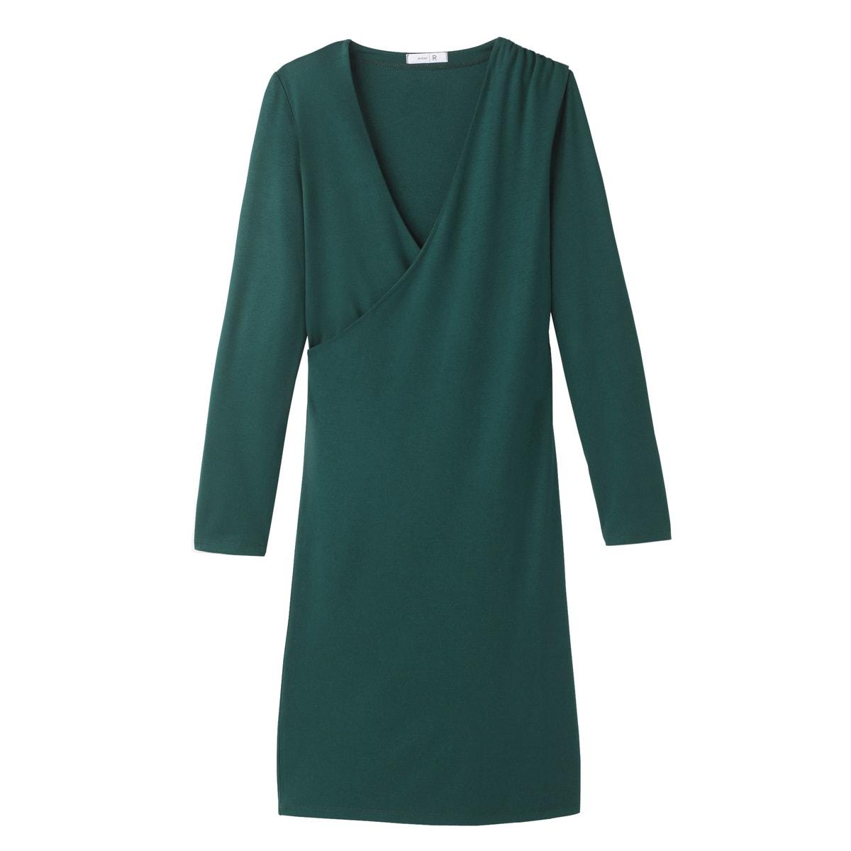 La-Redoute-Collections-Frau-Figurbetontes-Kleid-Wickelausschnitt-Viskose