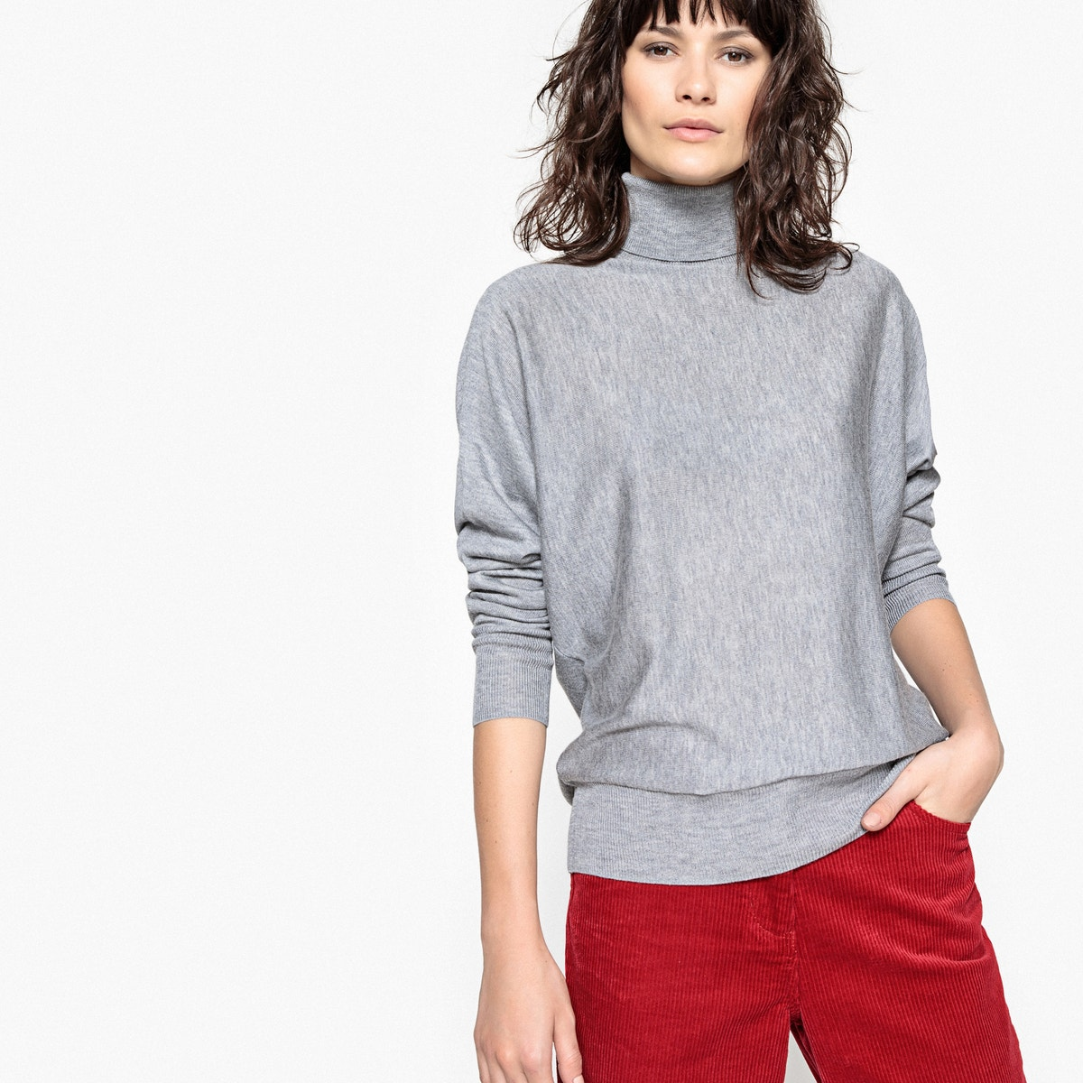 La Redoute Collections Womens Turtle Neck Jumper//Sweater Grey Size M