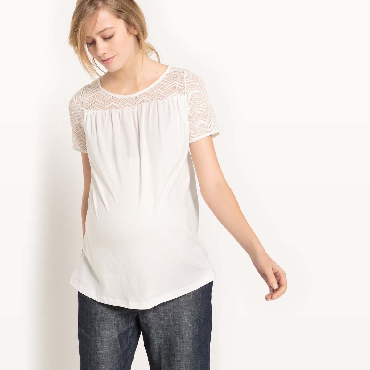 La-Redoute-Collections-Womens-Crew-Neck-Maternity-T-Shirt