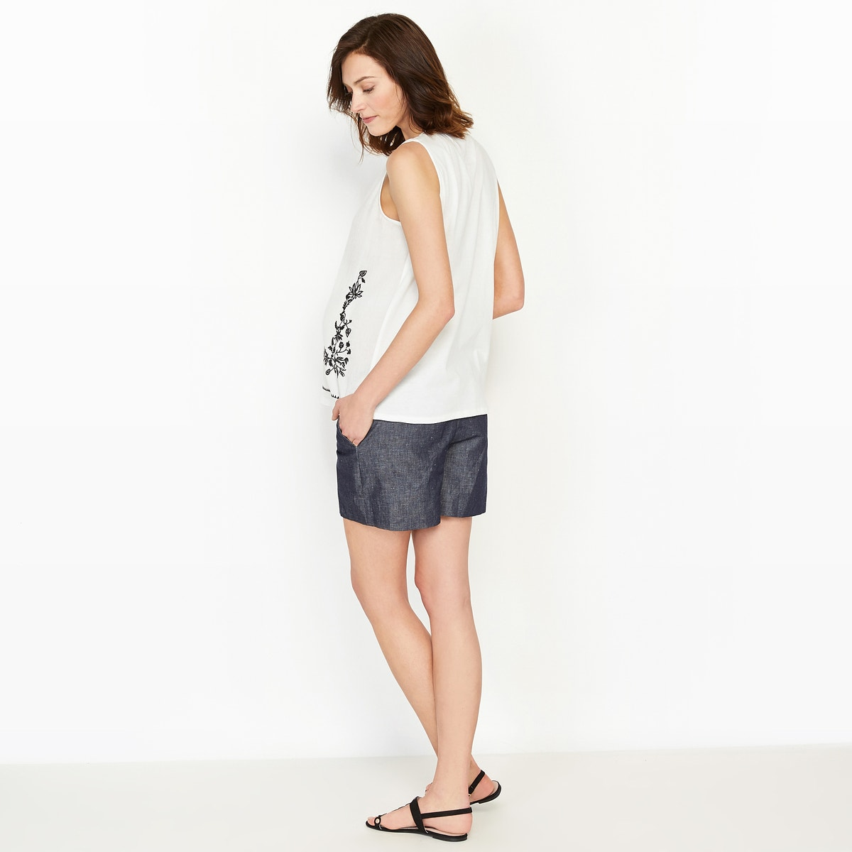 Womens-Dual-Fabric-Maternity-T-Shirt-With-Embroidered-Detail