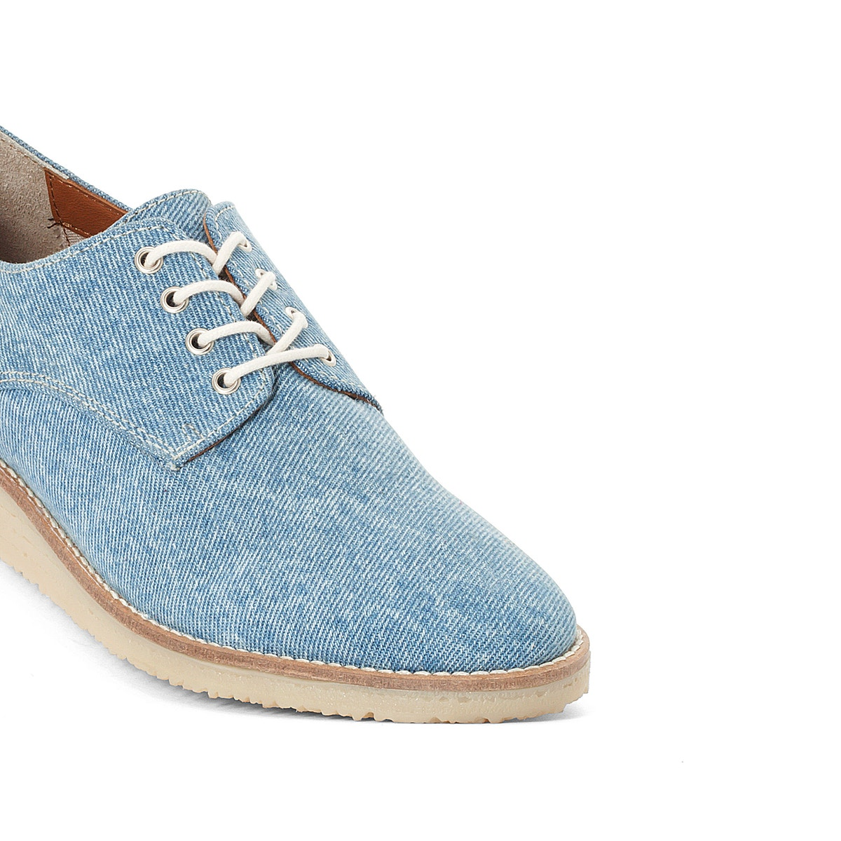 La Redoute Collections Womens Denim Brogues With Honey Honey Honey Sole 4e3634