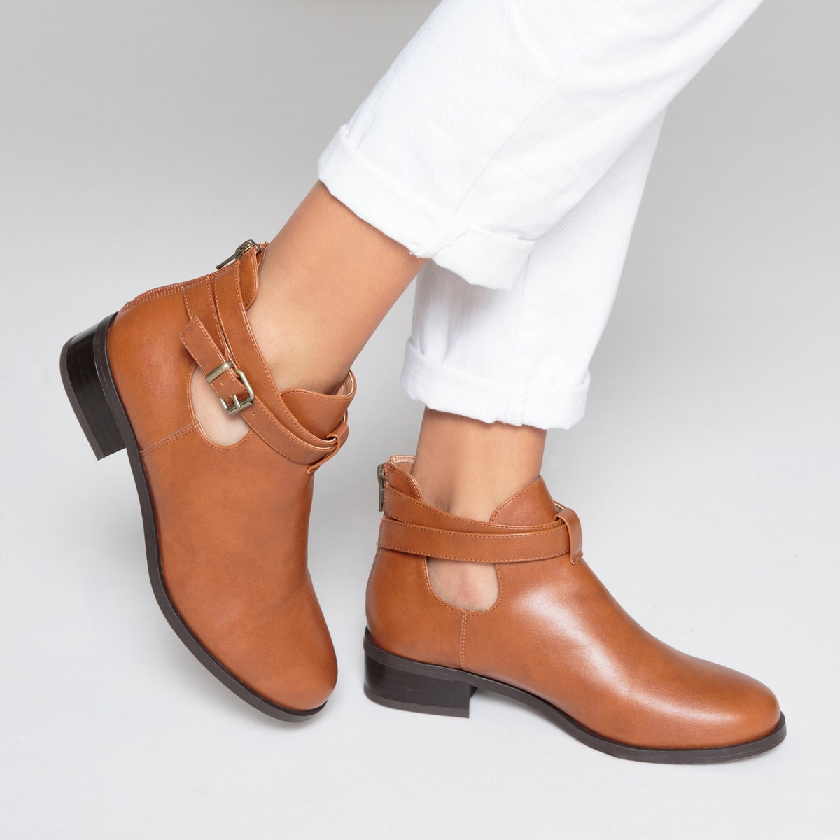 7c29e227987 Womens Faux Leather Cut-Out Cut-Out Cut-Out Buckled Ankle Boots ...