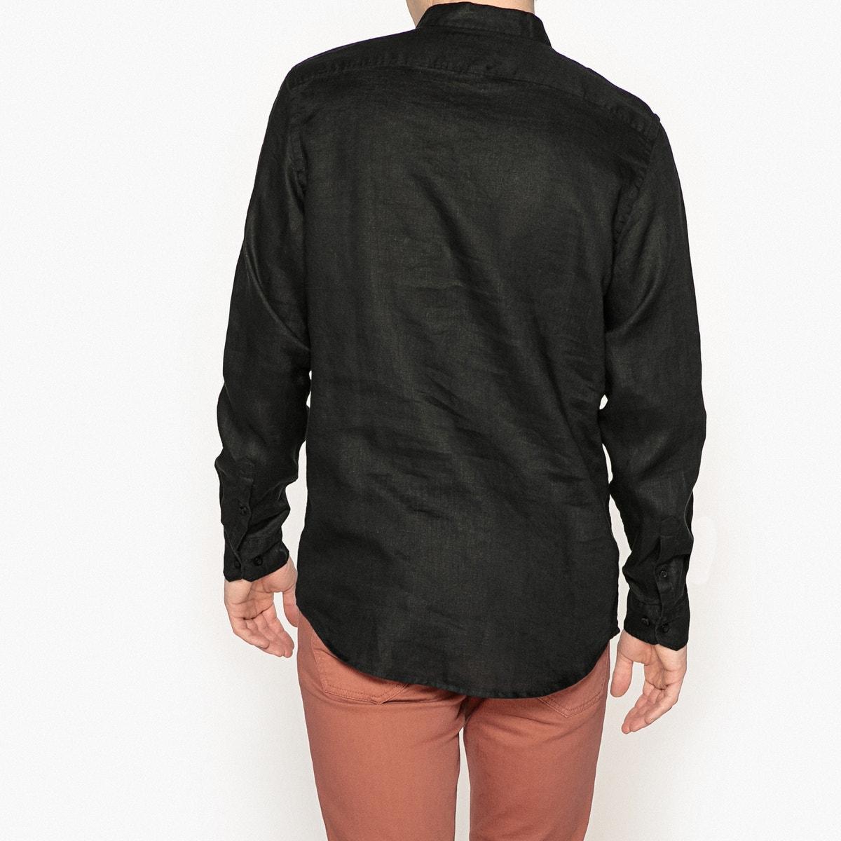 La-Redoute-Collections-Mann-Leinenhemd-Mit-Stehkragen-Regularfit