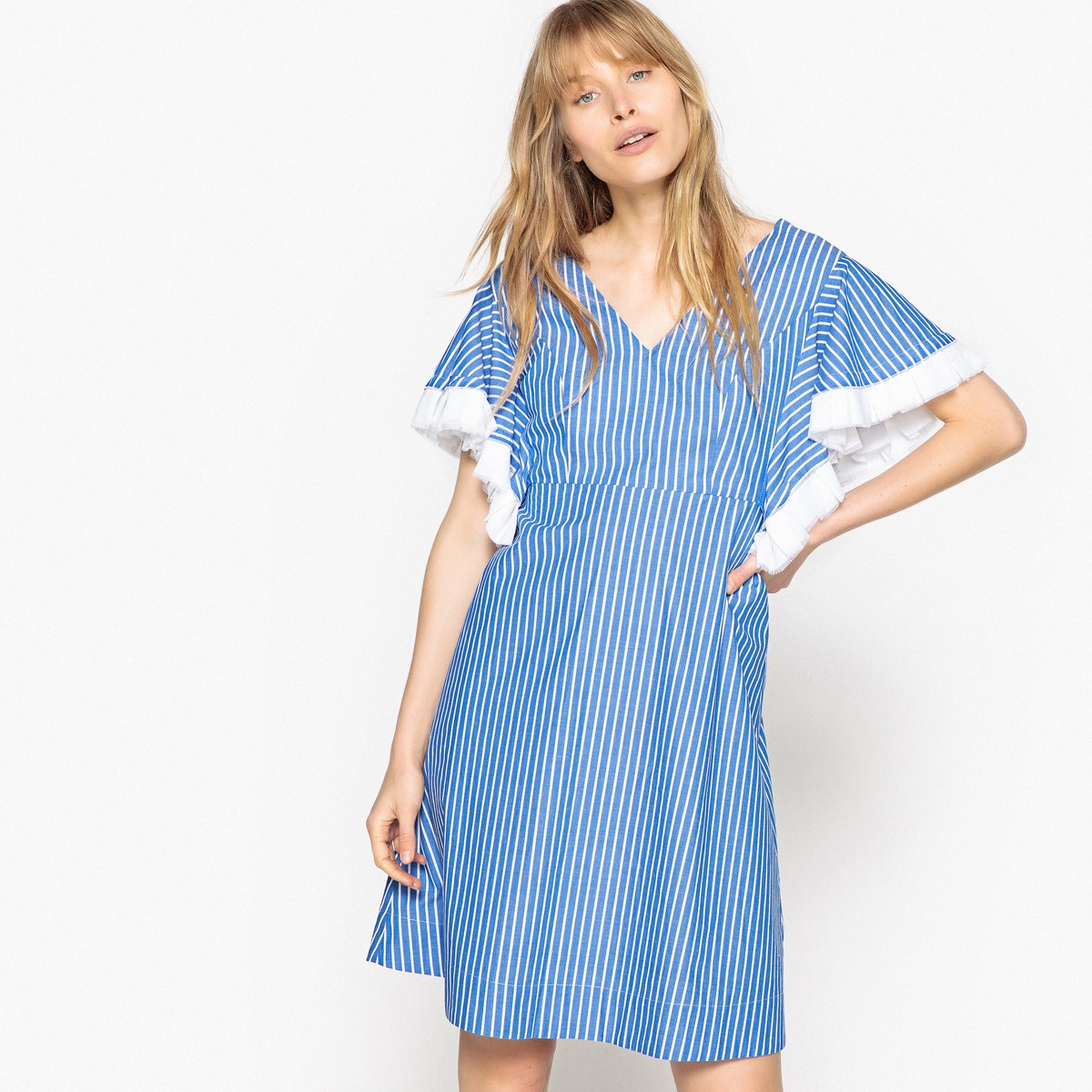Mademoiselle-R-Womens-Striped-Dress-With-Ruffle-Sleeves-And-Open-Back