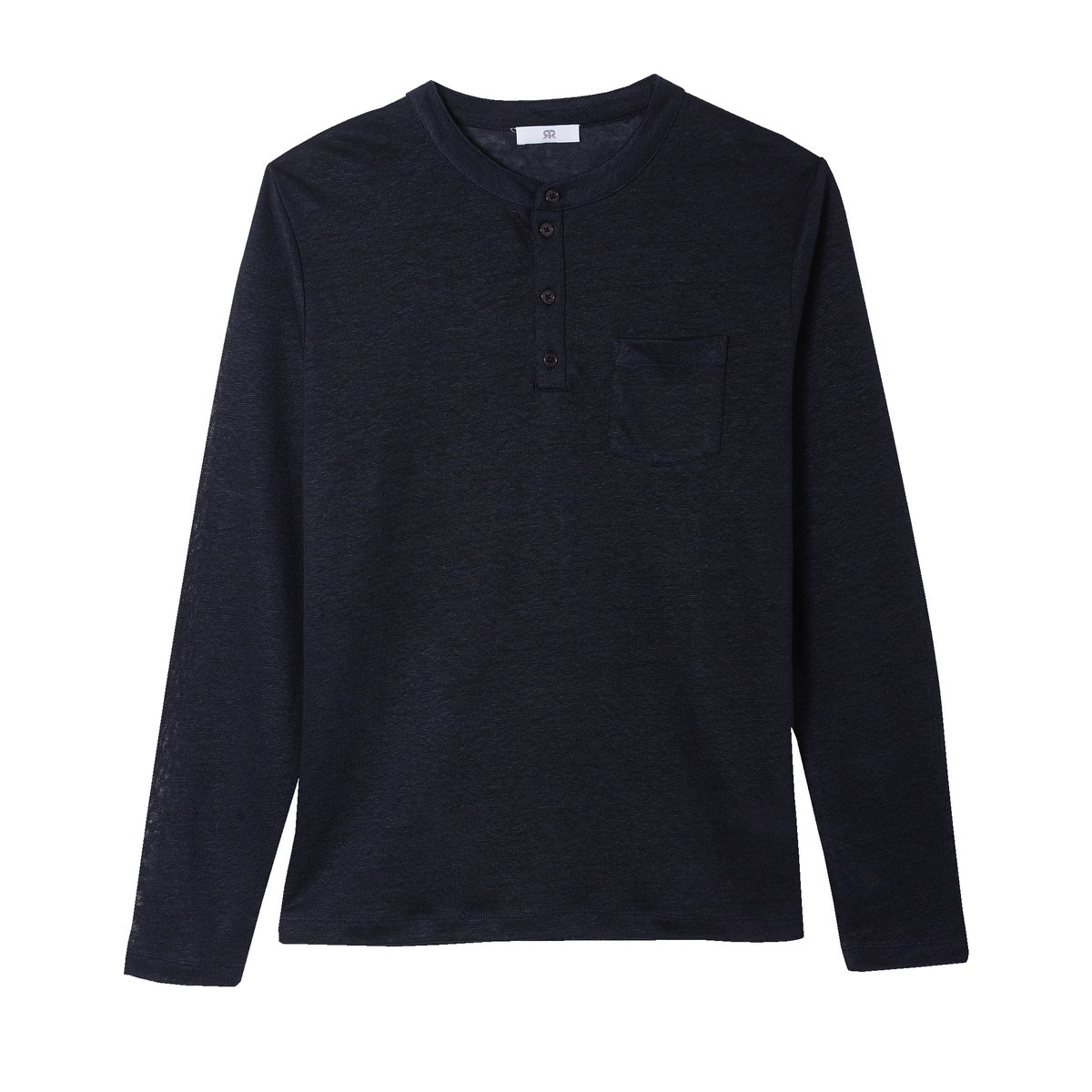 La-Redoute-Collections-Mens-Longsleeved-Linen-Tshirt-With-Mandarin-Collar