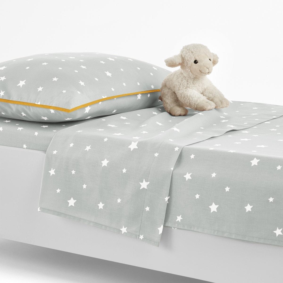 La-Redoute-Interieurs-Unisex-Etoiles-Babys-Cotton-Flat-Sheet