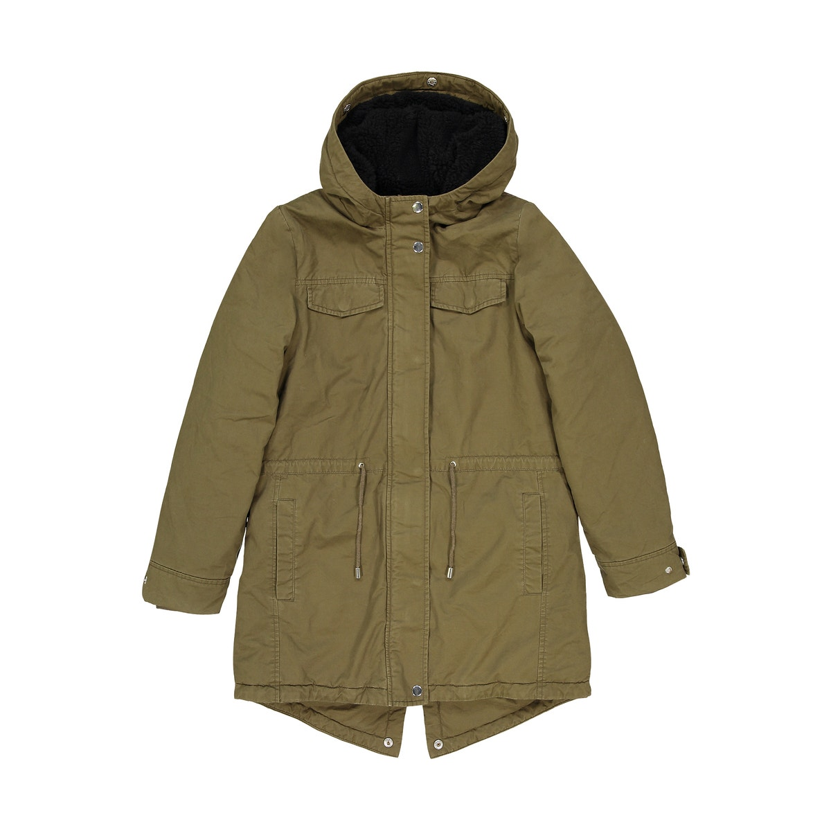 36db4e1baba2 Girls Parka With Faux Fur Hood