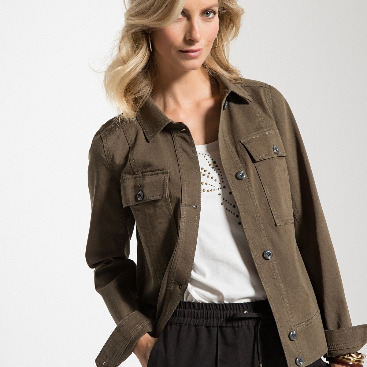 avec poches coton plaquées Veste stretch droit pour femmes en 06YwHYqU