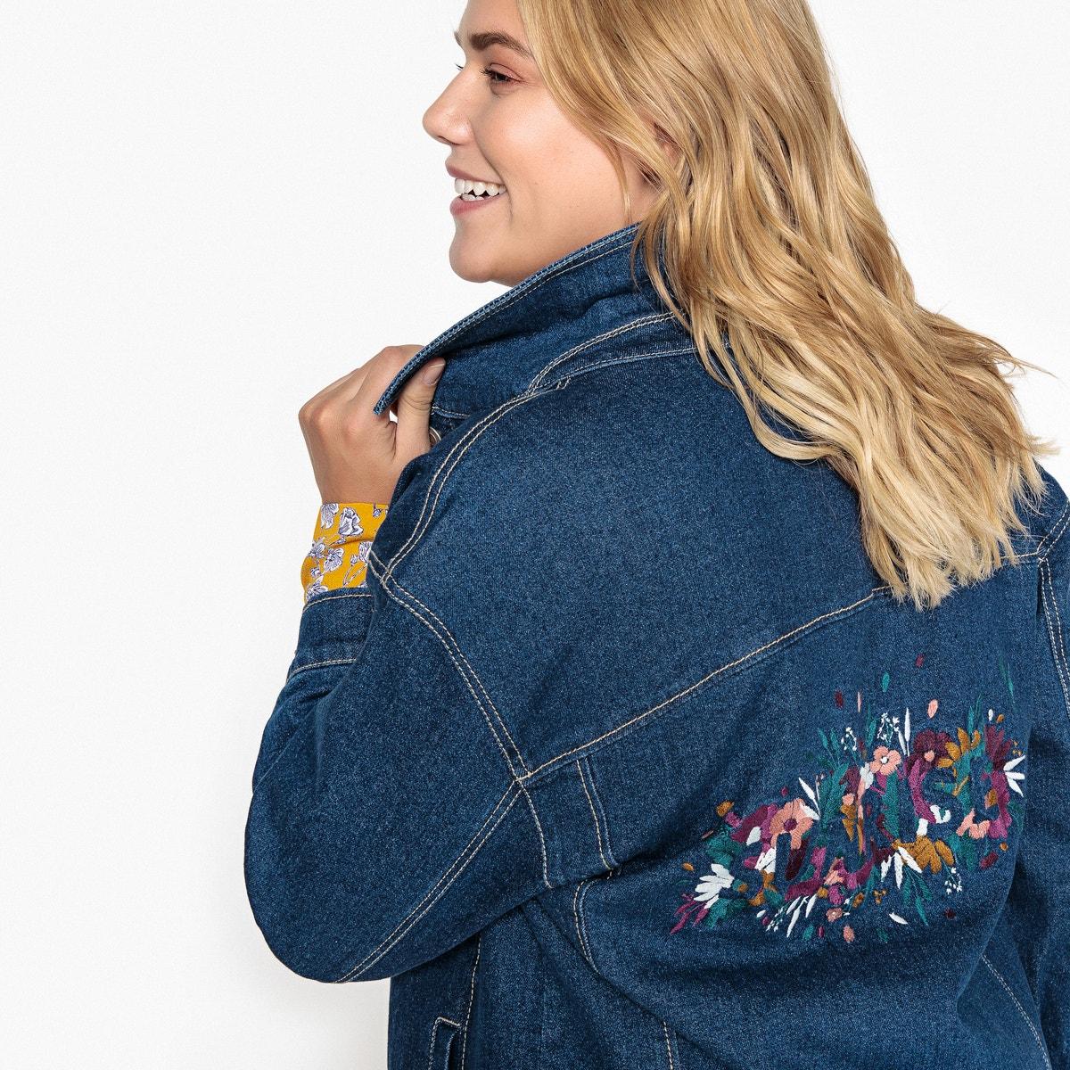 7c0b91a770b15 Castaluna Womens Longline Floral Embroidered Back Denim Jacket