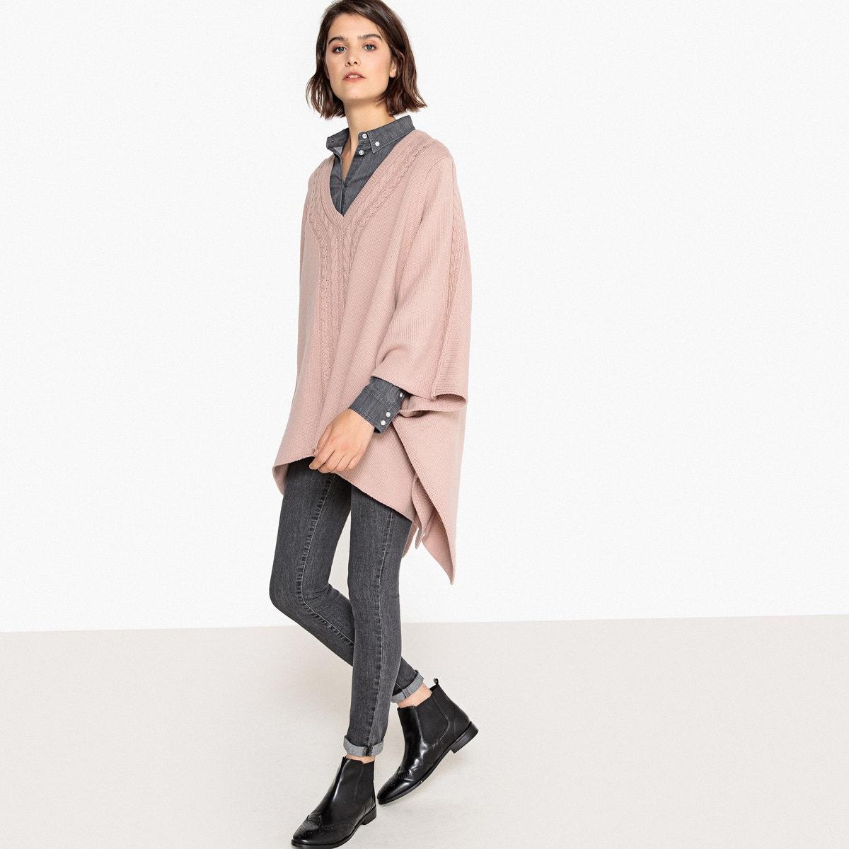 La La La Redoute Collections Womens Wool Blend Cable Knit Poncho c1d599