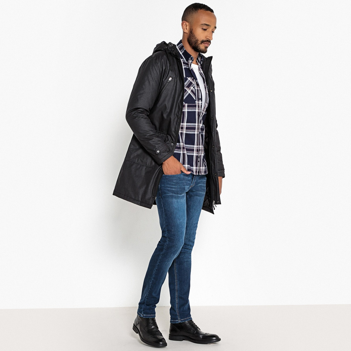 lange met Collections Mid Mens parka La ritssluiting Redoute stijlvolle fgy6vYb7
