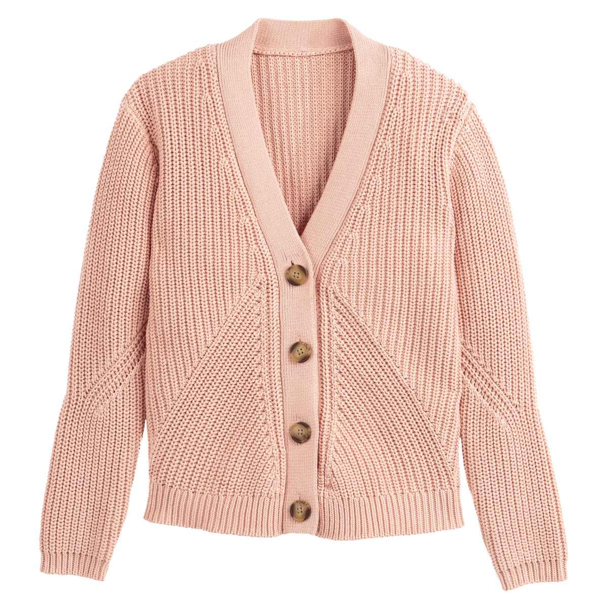 La Redoute Collections Womens Cotton Chunky Knit Buttoned