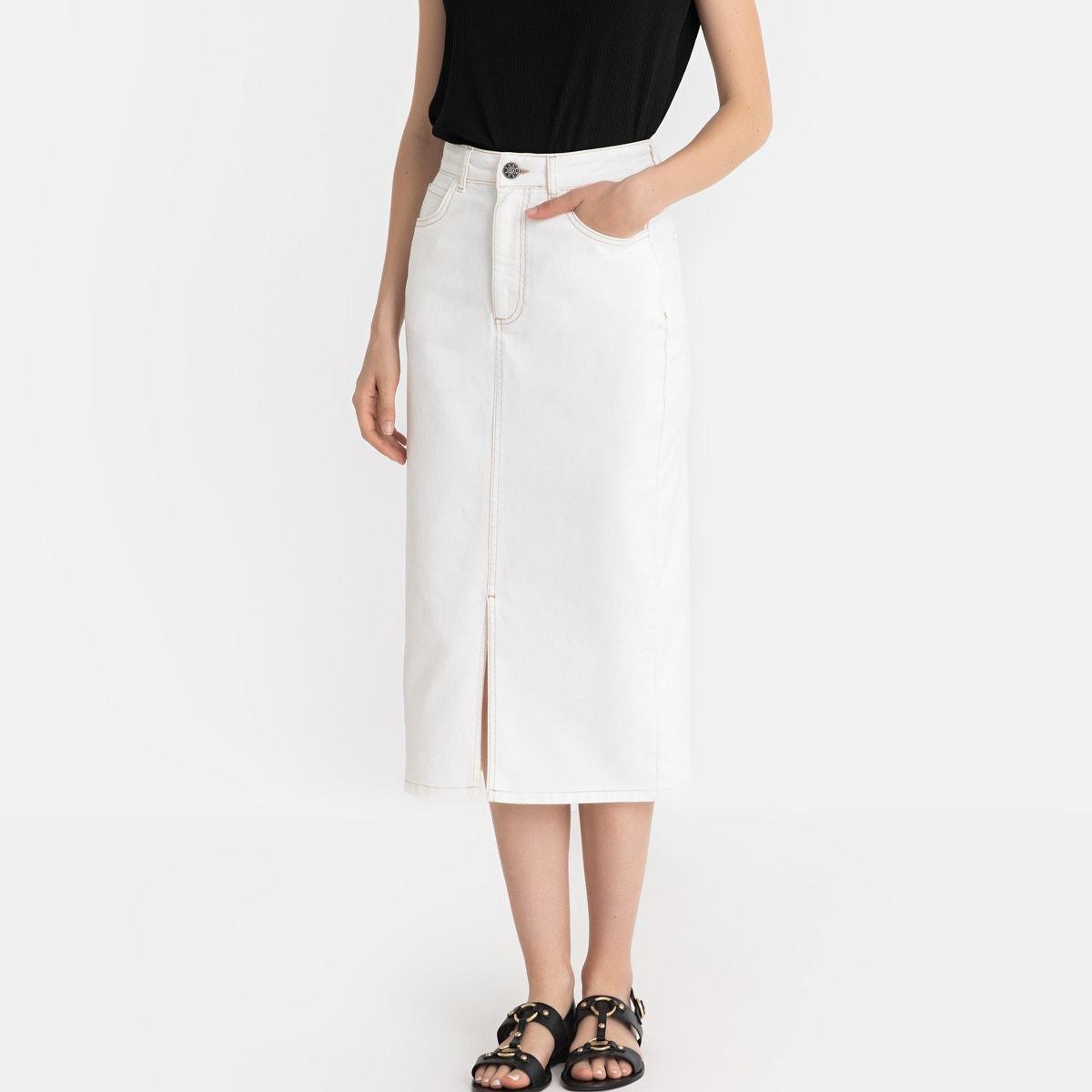 4731100d7c070d Uniross La Redoute Collections Womens Denim Straight Midi Skirt