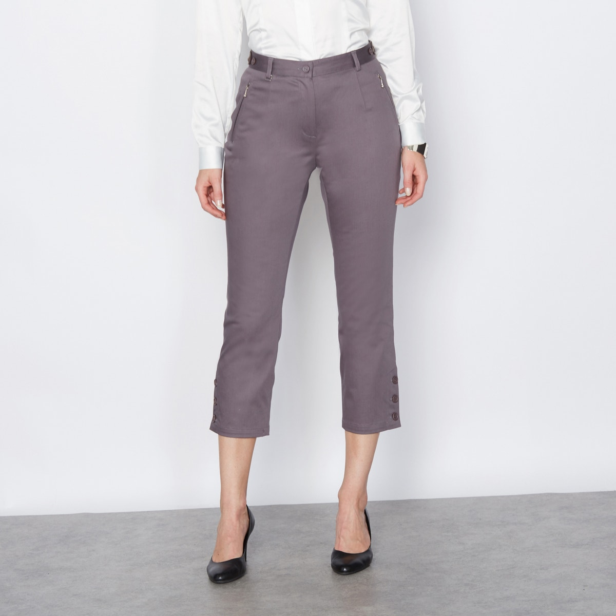 La Redoute Womens Cropped Trousers In Stretch Cotton Satin