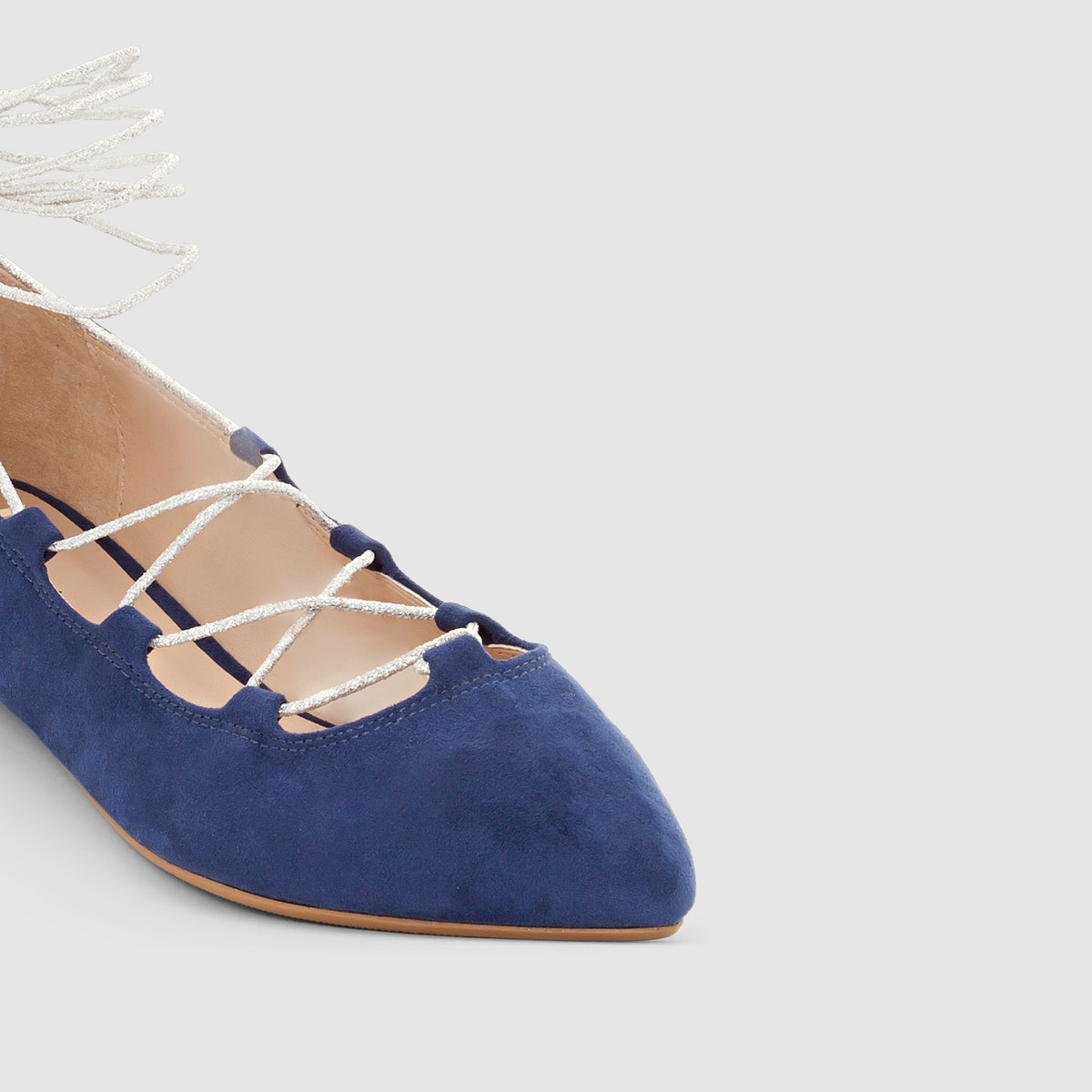 ebabf99520e7 La Redoute Collections Womens Lace-Up Ballet Pumps 350044043